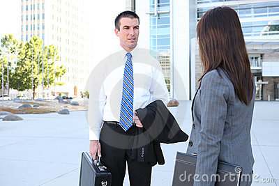 Business Team Outside Office Building