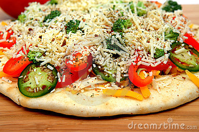 Uncooked Vegtable Pizza For One