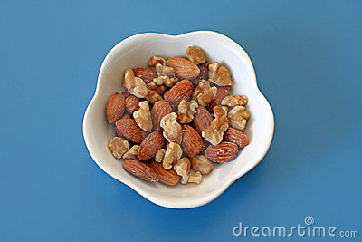 Almonds and walnuts in a dish