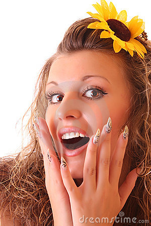 Happy woman with sunflower in hair isolated