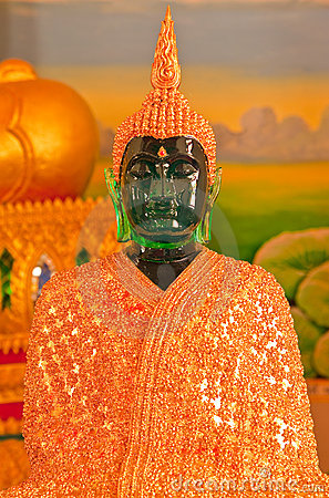 Emerald Buddha image with fully decorated