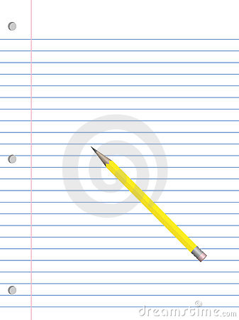 Notebook paper and pencil