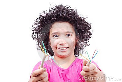 Cute girl is taking electrical wire
