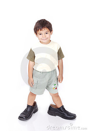Little boy in big shoes
