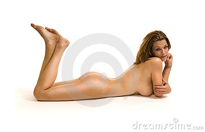 Female model nude laying on floor