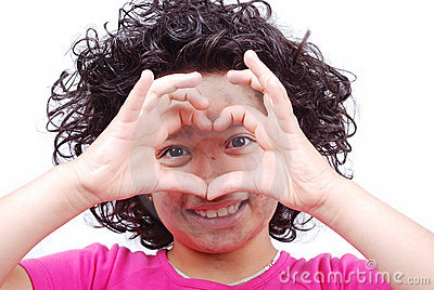 Girl with heart shaped hands