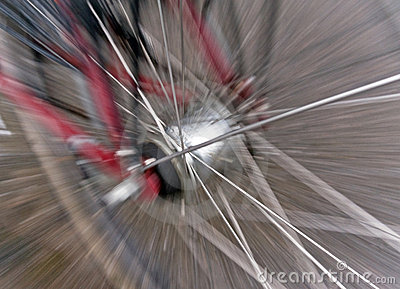 Blurred bicycle wheel