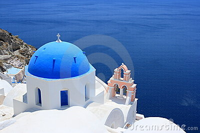 Oia Blue Dome and Pink Bell Tower