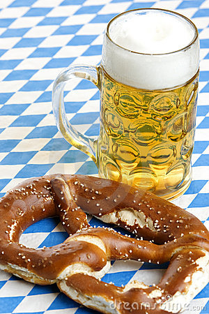 Bavarian Beer and Pretzel at Oktoberfest