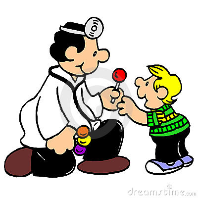 Friendly doctor examine boy cartoon