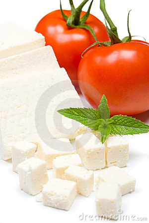 White cheese and tomato