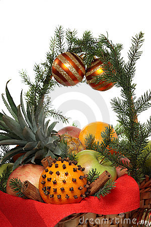 Christmas basket with fruit