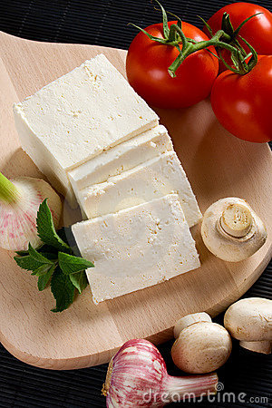 White cheese with vegetables