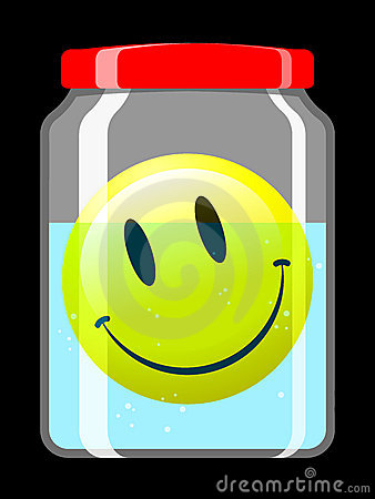 Smiley face in preserving jar
