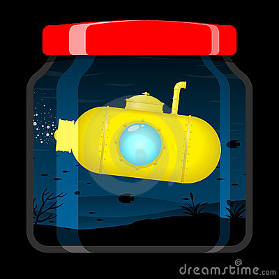 Yellow submarine in preserving jar