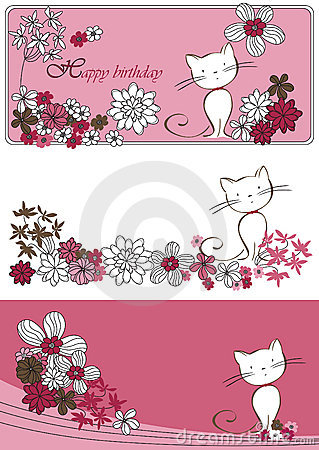 Vector graphic set with cat