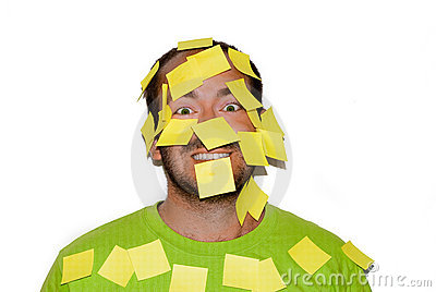 Smiling man with post-it stickers