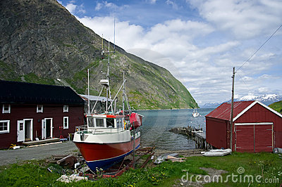 Fisherman house with boat