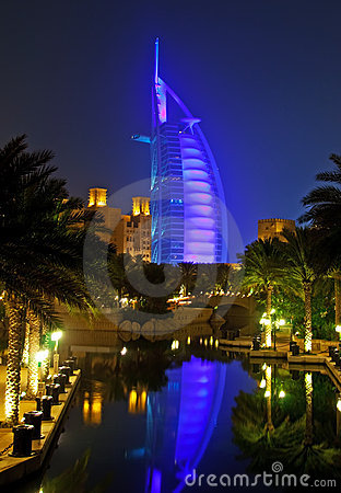 Burj Al Arab at night with reflection