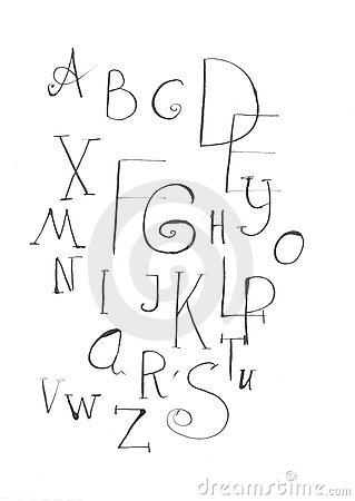 Ink drawing letters