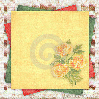 Linen background with a multi-coloured paper