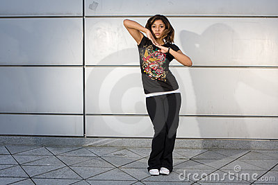 Young teenager dancing hip hop