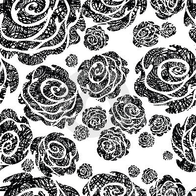 Seamless grunge rose pattern