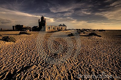 Ruinous Hindu temple on the sand
