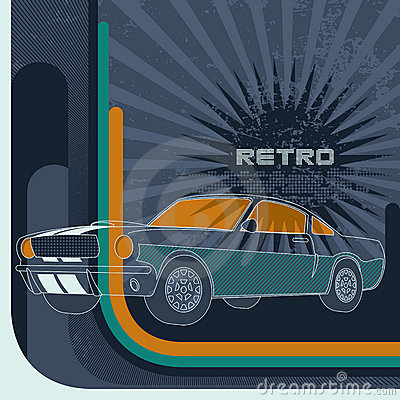 Retro background with muscle car