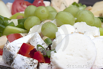 Cheese plate and grapes