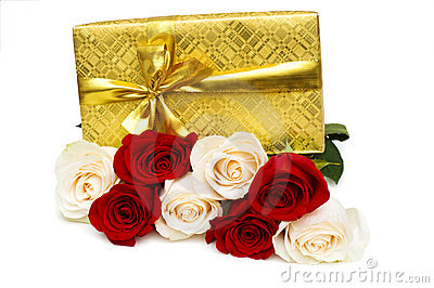 Giftbox and rose isolated