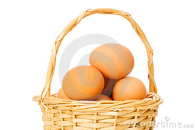 Basket full of eggs isolated