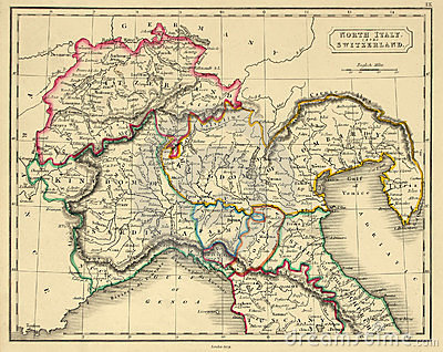 Antique Map of Northern Italy