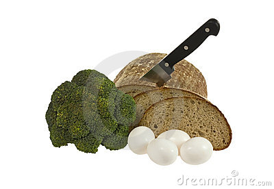 Bread, eggs and broccoli
