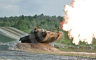 Shooting russian tank
