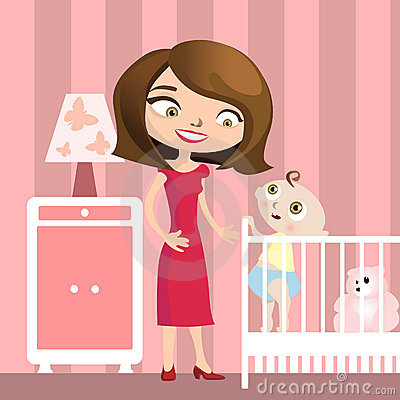 Mother with baby illustration