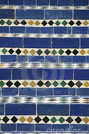 Moroccan blue mosaic stairs