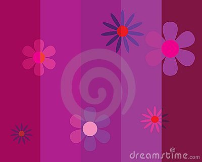 Seamless striped background with flowers