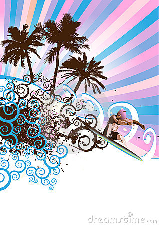 surfer island vector
