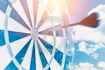 Fast business target impact concept represent blur moving dash to center hit point of dartboard
