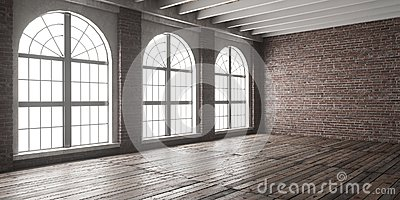 Large empty room in loft style