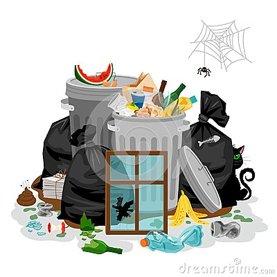 Pile of garbage in white. Littering waste concept with with organic and household rubbish and trash