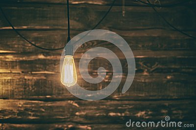 Light Edison bulb on dark wooden background