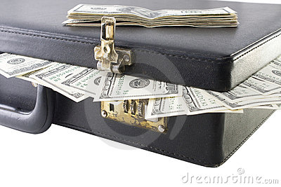 Briefcase with dollars