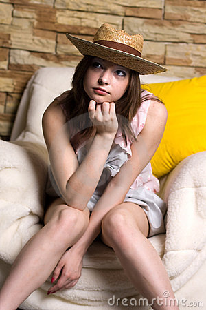 Girl in yellow hat