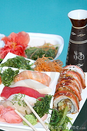 Tray with assorted sushi apetaizer