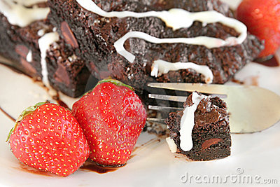 Brownie and strawberries
