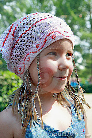 The cheerful girl in a kerchief