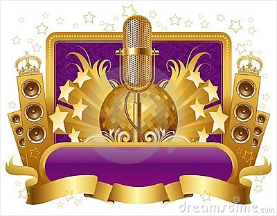 Illustration with golden musical objects