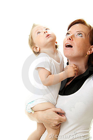 Picture of happy mother with baby